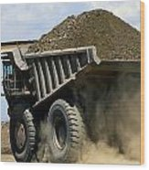 A Dump Truck Carrying Gravel Kicks Wood Print