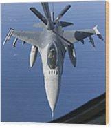 A Dutch F-16am Conducts In-flight Wood Print