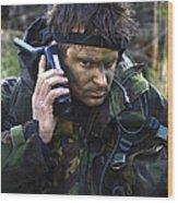 A Dutch Patrol Commander Communicates Wood Print