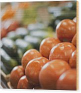 A Farm Stand Display Of Fresh Produce Tomatoes And Cucumbers Wood Print