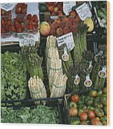 A Farmers Market Selling Vegetables Wood Print