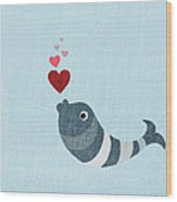 A Fish Blowing Love Heart Bubbles Wood Print