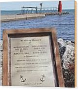 A Fisherman's Prayer At Algoma Lighthouse Wood Print by Mark J Seefeldt