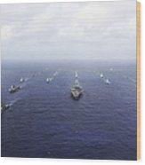 A Fleet Of U.s. Navy And Japan Maritime Wood Print
