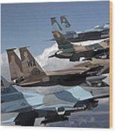 A Flight Of Aggressor F-15 And F-16 Wood Print