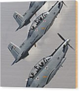 A Formation Of Iraqi Air Force T-6 Wood Print