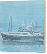A Fortier Docked In Maine Wood Print