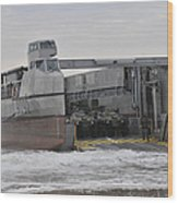A French Landing Craft Comes Ashore Wood Print