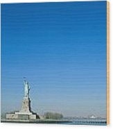 A Frontal View Of The Statue Of Liberty Wood Print