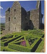 A Garden In Front Of Tully Castle Near Wood Print