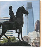 A General And His Horse In Philly Wood Print