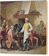 A Gentleman's Debate Wood Print by Benjamin Eugene Fichel