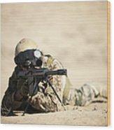 A German Soldier Sights In A Barrett Wood Print