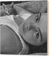 A Girl And Her Kitten Wood Print by Juliana  Blessington