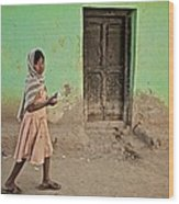 A Girl By A Door Wood Print