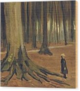 A Girl In A Wood Wood Print