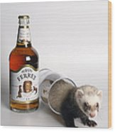 A Glass Of Fursty Ferret Wood Print