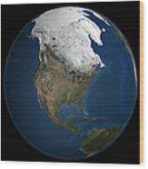 A Global View Over North America Wood Print