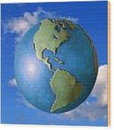 A Globe In The Sky Wood Print