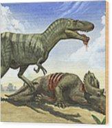 A Gorgosaurus Libratus Stands Wood Print