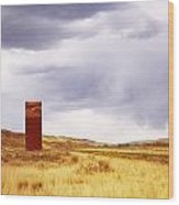A Grain Elevator In A Field Wood Print