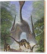 A Group Of Balaur Bondoc Dinosaurs Wood Print