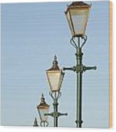 A Group Of Old Gas Street Lamps Wood Print by Bill Hatcher