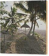 A Hammock, Umbrella, And Swaying Palms Wood Print