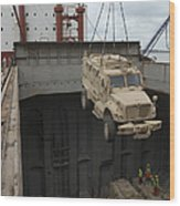 A Harbor Crane Lifts A Mine-resistant Wood Print