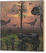 A Herd Of Allosaurus Dinosaur Cause Wood Print
