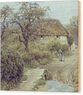 A Hill Farm Symondsbury Dorset Wood Print by Helen Allingham