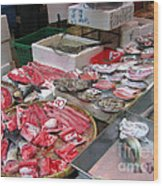 A Hong Kong Fishmonger Shop Wood Print
