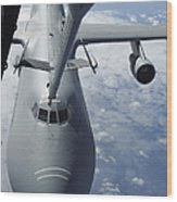 A Kc-10 Extender Prepares To Refuel Wood Print by Stocktrek Images