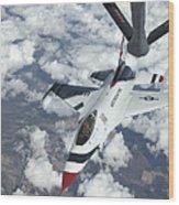 A Kc-135 Stratotanker Refuels An Air Wood Print