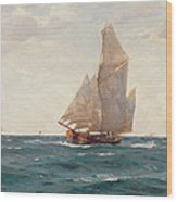 A Ketch And A Brigantine Off The Coast Wood Print