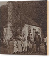 A Large African Americans Family Posed Wood Print by Everett