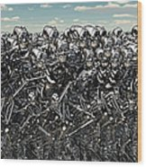 A Large Gathering Of Robots Wood Print