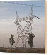 A Large Steel Based Electric Pylon Carrying High Tension Power Lines Wood Print