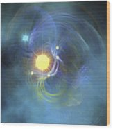 A Large Sun Is Veiled By Surrounding Wood Print