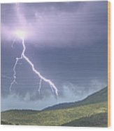 A Lightning Bolt From A Thunderstorm Wood Print