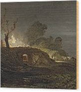 A Lime Kiln At Coalbrookdale Wood Print by Joseph Mallord William Turner