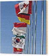 A Line Of Flags Represent The Countries Wood Print