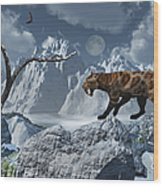 A Lone Sabre-toothed Tiger In A Cold Wood Print by Mark Stevenson
