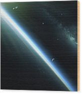 A Lone Satellite Drifts Silently Wood Print