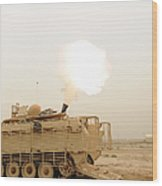 A M120 Mortar System Is Fired Wood Print