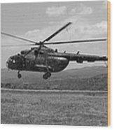 A Macedonian Mi-17 Helicopter Landing Wood Print