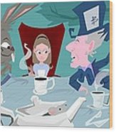 'a Mad Tea Party' Wood Print