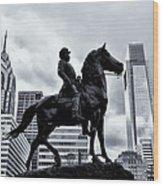 A Man A Horse And A City Wood Print