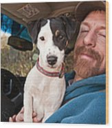 A Man And His Puppy In Wv Wood Print