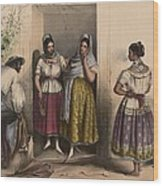 A Man And Three Women From Puebla Wood Print